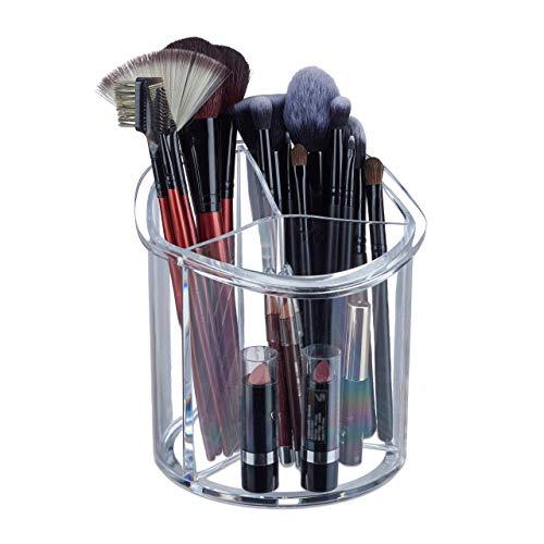 Relaxdays, Ø15 cm, Organizador para brochas de Maquillaje, Redondo, Plástico, Tres Compartimentos, Transparente, acrílico