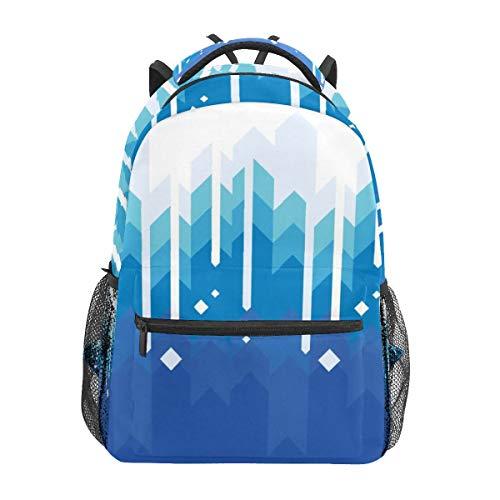 Blue School Backpacks Everest Snow Geometry Travel Bag Laptop Bag for Teen Girls Boys Middle Student Book Bag