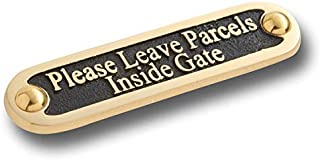 Please Leave Parcels Inside Gate Metal Brass Door Sign. Traditional Style Leave Delivery Instruction Outdoor Metal Mailbox Wall Sign by The Metal Foundry
