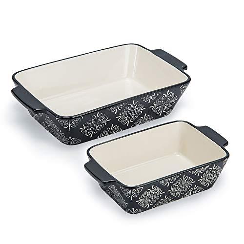 Baking Dish Ceramic Baking Pan Grey Casserole Dish Rectangular Baking Set 2pcs Bakeware Sets Lasagna Pan Baking Dishes