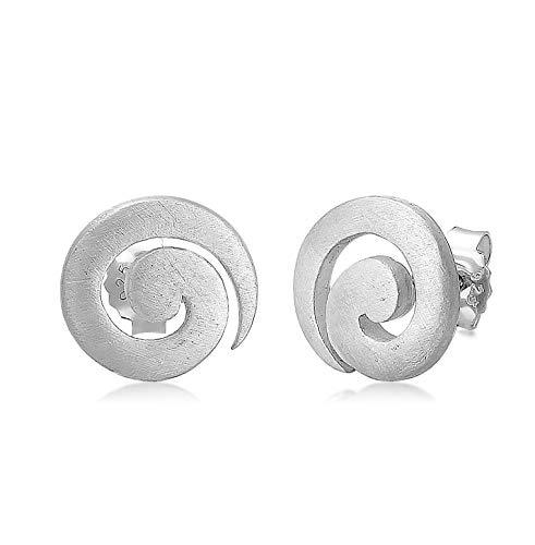 Nenalina Silber Damen-Ohrringe Ohrstecker Spirale rund 12mm gebürstet für Frauen und Mädchen, 925 Sterling Silber, Ohrstecker für Damen, Ohrringe Spirale, 324364-700
