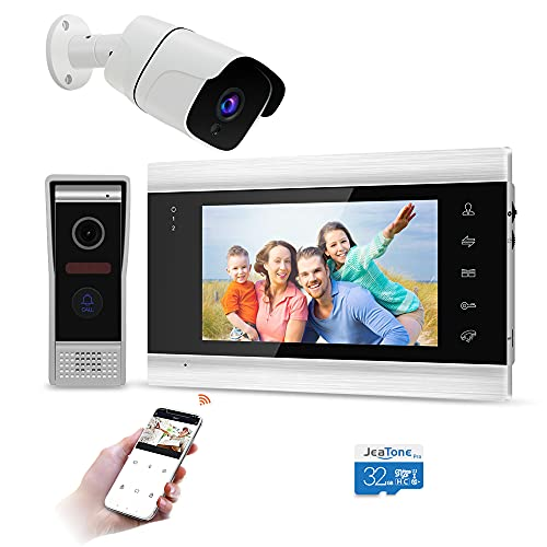 Jeatone Videocitofono WiFi con cavo da 7 pollici, campanello con cavo per fotocamera 720P, audio video bidirezionale, IP65, mobile, sorveglianza attiva, sblocco remoto, parlare, registrare