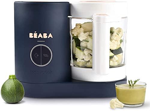 BÉABA - Babycook Neo - 4 in 1 Babynahrungszubereiter - Schonender Dampfgarer - Glaskrug und Garkorb aus Edelstahl - Mitternachtsblau
