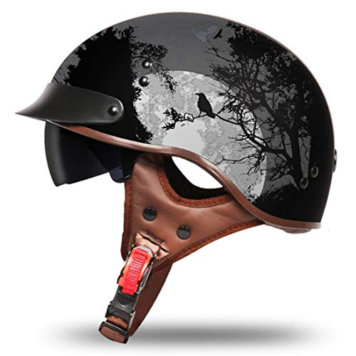 VCOROS Retro Motorcycle Open Face Helmet Sun Visor Quick Released Buckle DOT Approved Half Face Cycling Helmets for Men Women for Bike Cruiser Chopper Moped Scooter (Dark Night, M)