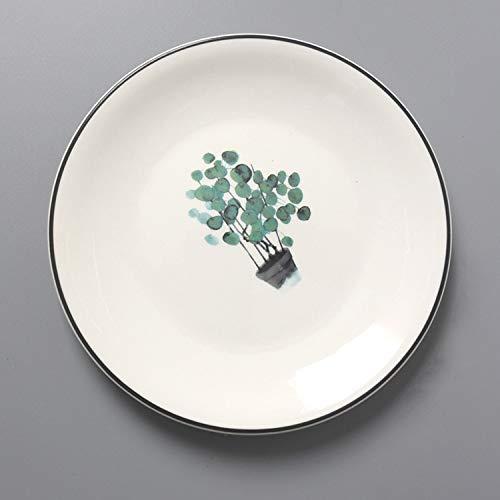 Nordic Plant Geschirr Weiß Keramikplatte Steak Keramikplatte Home Disc Keramik Schüssel Teller Geschirr Set Mikrowelle verfügbar Unterglasur Keramik Geschirr Home Keramik Teller