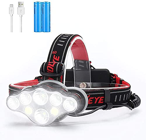 Rechargeable Headlamp, 8 LED 18000 Lumen Super Bright Headlamp with Red Light, 18650 Ultralight USB Headlamp, 8 Modes Waterproof Headlamp Flashlight for Outdoor Running Hunting Hiking Camping Fishing