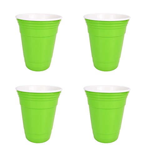 Set of 4 Neon Green Reusable 16 Oz Double Walled Plastic Cups! Party Cups Without All The Waste! Durable! BPA FREE & Dishwasher Safe! Reusable Drinking Cups Perfect for Parties and Home Use!