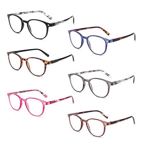 BOSAIL Lesebrille Blaulichtfilter Brille für Damen und Herren(6 pack),Retro Runde,Federscharnier und Blendschutzgläser Lesehilfe Sehhilfe Brille mit Stärke 3.0