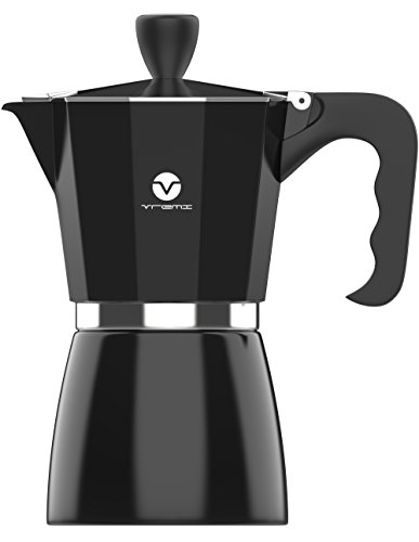Vremi Stovetop Espresso Maker - Moka Pot Coffee Maker for Gas or Electric Stove Top - 6 Cups Demitasse Espresso Shot Maker for Italian Espresso Cappuccino or Latte - Black