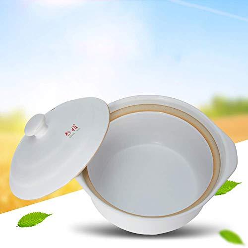 Runde Keramik-Auflaufform hitzebeständig Irdener Topf Tontopf Suppentopf mit Deckel Hitzebeständiges gesundes Kochgeschirr für langsames Kochen Weiß 1.9Quart