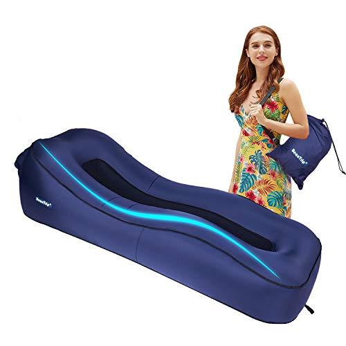 BEAUTRIP Upgrade Atmungsaktive aufblasbare Liege Tragbare Schlaf Luftmatratze Couch Matratze mit Mezzanine Mesh für Indoor & Outdoor Camping Wandern Seeufer Strand Schwimmbad (Navy blau)