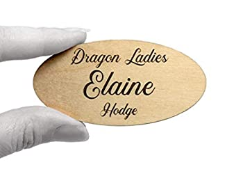 Fisharply Employee Name Tags  Maple 3  x 1.5  Oval    Laser Engraved Custom Personalized Wood Name Tag w/Magnetic Pin-on or Adhesive Backing   Casual and Formal Styles for Any Business