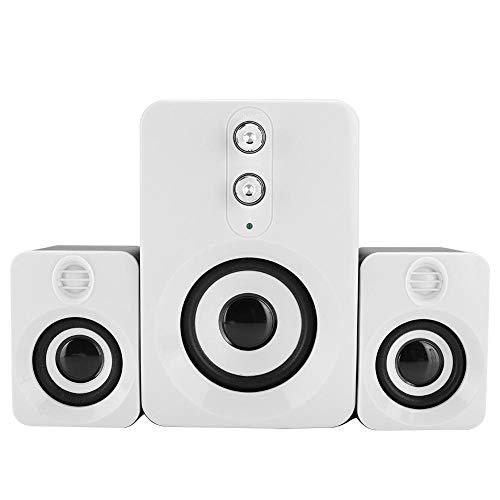 Lazmin Multimedia-Subwoofer-Lautsprecher mit 360 ° Surround-Stereo-Sound, 3,5-mm-Audio-USB-Mini-Computer-Lautsprecherset mit hoher/niedriger Tonhöhe für Desktop/PC(Weiss)