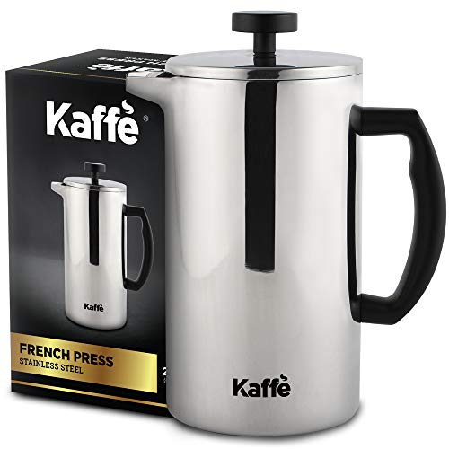 Kaffe French Press Coffee Maker FoodGrade DoubleWall Stainless Steel 6 Cups 08L Extra Filter Included