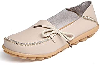 Women's Leather Loafers Slip On Flats Casual Round Toe Moccasins Wild Breathable Comfortable Driving Fashion Soft Shoes