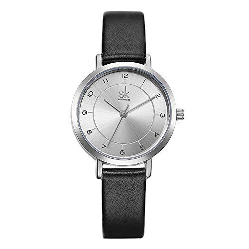 SK SHENGKE Armbanduhren für Damen Lederarmband Quarz Uhren Frauen Armbanduhr (K8008-BK)