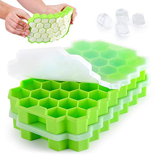 Zulay Silicone Ice Cube Tray Set (2 Pack) - Honeycomb Shaped Flexible Ice Trays With Covers - BPA Free Silicone Ice Tray Molds With Removable Lid, Creates 74 Ice Cubes For Chilled Drinks