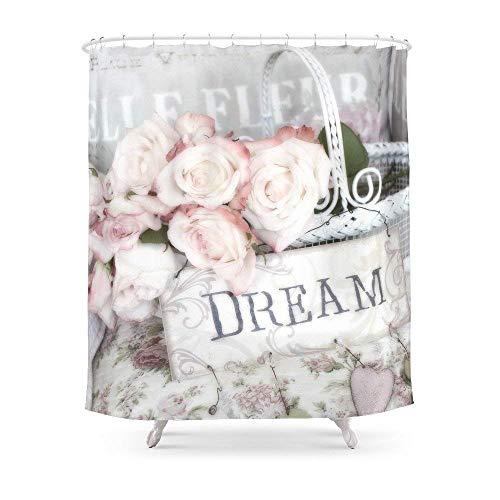 Suminla-Home Badezimmer Shabby Chic Korb Traumrosen Duschvorhang 182,9 x 182,9 cm