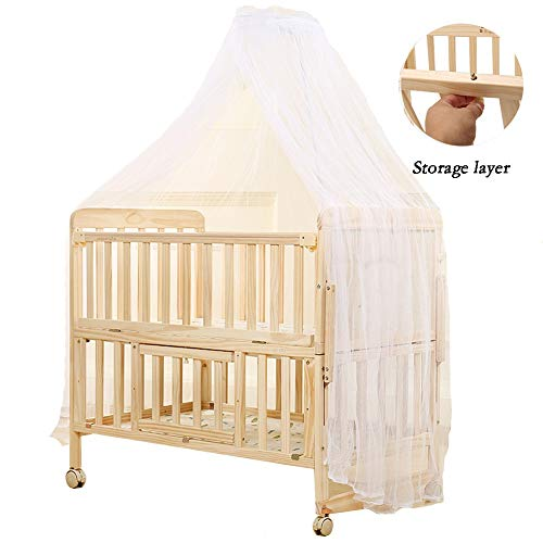 Review XJJUN Rocking Crib ,Double Layer Universal Wheel Brown Mat Stable Wood Storage Layer, 3 Sty...