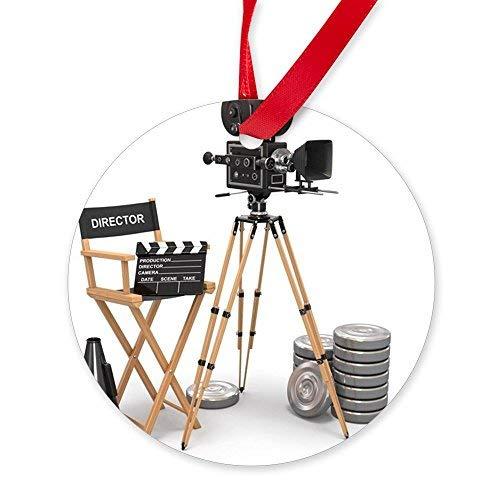 Enidgunter Movie Composition. Vintage Camera, Round Christmas Ornament