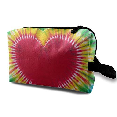XCNGG Bolsa de almacenamiento de maquillaje de viaje, bolso de aseo portátil, pequeña bolsa organizadora de cosméticos para mujeres y hombres, signo de corazón, teñido anudado