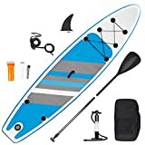 inty Aufblasbares Stand Up Paddle Board ISUP Surf Board 6 Zoll Dick Komplett-Set SUP Board, Hochdruck-Pumpe,Paddel, Rucksack, Reparaturset (Strisce-Blu 305cm)
