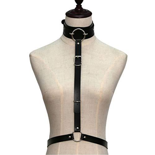 YouliySexy Body Brustgeschirr Kunstleder O-Ringe Schnalle Chocker Halsband Halskette Taille Gürtel