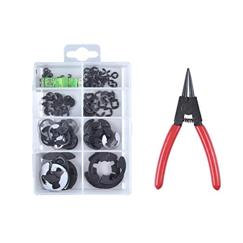 Heavy Duty Hardware Fasteners DIY E Clip Tool Pliers & Alloy Steel External E-Clip Kit. Snap Retaining Ring Washer Assortment Set. Metric Automotive Shaft Bearings M6 M8 M10 1/16 1/8 1/4 1/2 7/8 Inch
