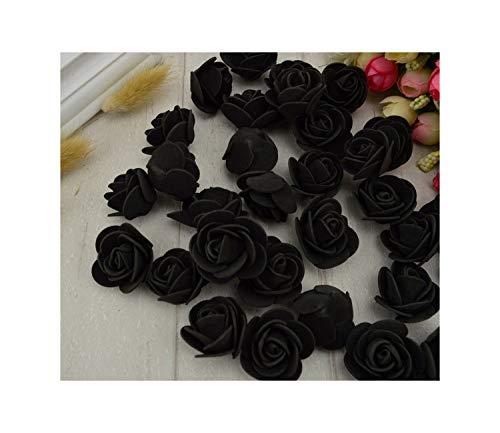 N/A 100Pcs PE-Schaum-Fälschungs-Blumen-Rosen-Kopf künstliche Blumen Hochzeit Dekoration für Scrapbooking Geschenk-Kasten DIY Kranz Multi Use, 12 Schwarz