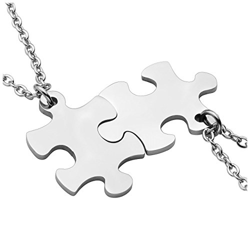 PiercingJ Personalized Gravur 2 Stücke Edelstahl 33 * 22mm Puzzle Anhänger Halskette Freundschaftsketten Partner-Anhänger mit 24