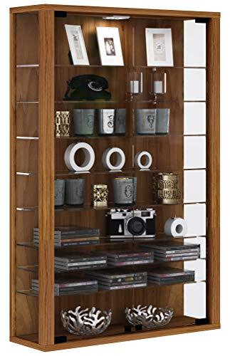 VCM Vitrine Wandvitrine Sammelvitrine Wand Regal Glas Hänge mit Beleuchtung kern-nussbaum 90 x 59 x 18 cm Vitrosa Mini