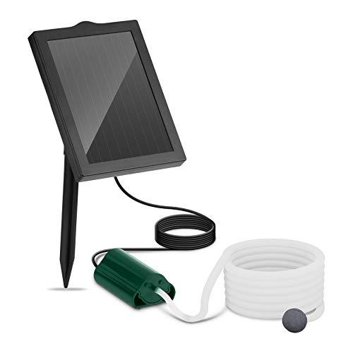 Uniprodo Uni_Pump_01 Solar-Teichbelüfter Sauerstoffpumpe 1 Stein Durchfluss 120 l/h Solarzelle 1,2 W Solar-Teichpumpe