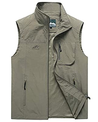 Duyang Men's Casual Outdoor Lightweight Quick Dry Fish Travel Work Safari Vest (Khaki 2, XXL)