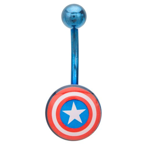 Bauchnabelpiercing Metallischer Captain America Schild - Chirurgenstahl