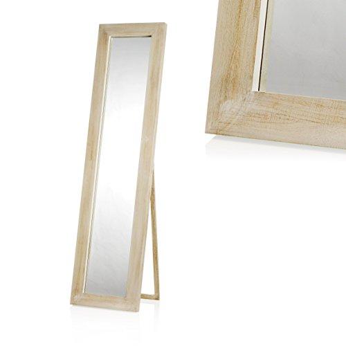 MONTEMAGGI Specchio da terra in legno naturale sbiancato con cornice larga. Bellissima specchiera shabby chic per arredare la vostra camera o il soggiorno. Dimensioni: 44x5x174 cm
