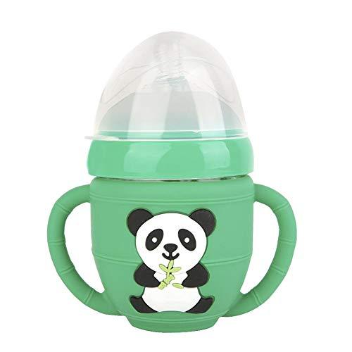 Biberón, Panda de dibujos animados Biberones para bebés que se alimentan BPA Biberones de vidrio a prueba de explosiones libres en funda de silicona para bebés(240ml-Green)