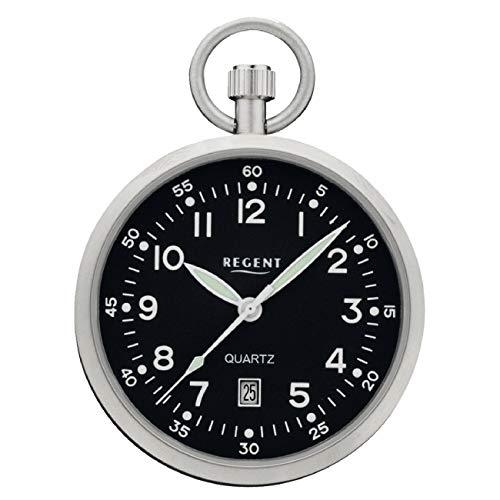 Regent Herren-Taschenuhr mit Kette Datum Leuchtzeiger Edelstahl Silber Quarz analog P 324K