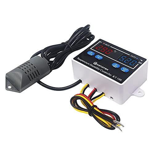 KETOTEK Controlador de temperatura y humedad, Digital termostato 220V Calentamiento Enfriamiento con Sonda, 10A De Salida Directa, para Incubadora Invernadero Reptil