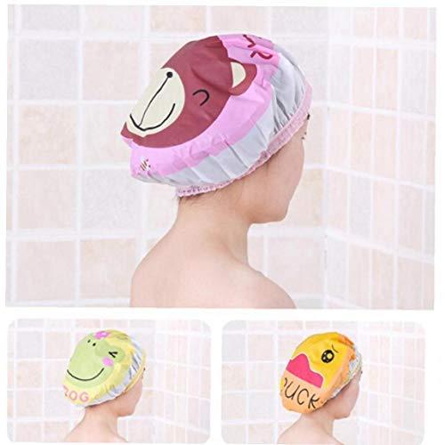 Pvc douche imperméable à l'eau Casquettes Cartoon bande élastique Chapeau de bain Cap Bathroom Supplies