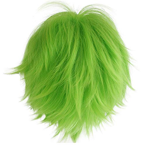 Alacos Short Fashion Spiky Layered Anime Cosplay Wig Halloween Christmas Carnival Dress Up Pretend Play Party Wig Gift+Cap (Green)