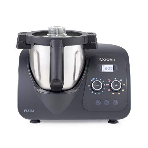 Flama Robot de Cocina Multifunción Cookii 2186FL, 1500W, Wi-Fi, 8 Temperaturas entre 37 y 120 °C, 10 Velocidades, Capacidad de hasta 5 kg, Recipiente de 3.8 L, Más de 200 Recetas, Black Pepper