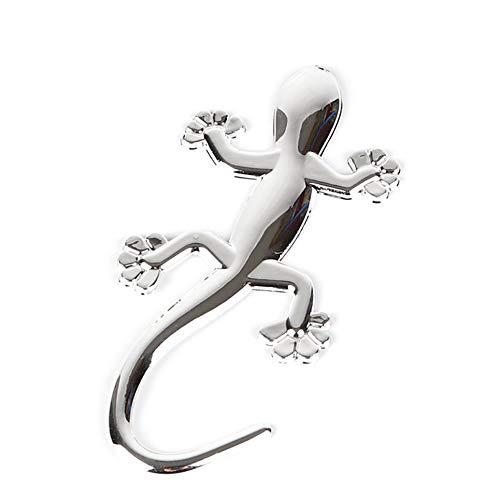 Wenjie Lagarto Gecko Divertido 3D Etiqueta engomada del Coche Insignia cromada de PVC Blando Etiqueta del Emblema Decoración del Coche Calcomanías de automóviles Accesorio de Estilo del Coche - Plata