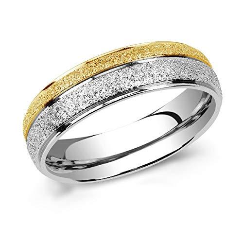 SILVEGO Damen und Herren Ehering aus Edelstahl Vergoldet Sandgestrahlt