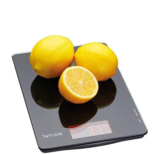 Taylor Pro Balanza Digital de Cocina de Diseño fino, Compacta, Delgada, Nivel Profesional con Función de Peso con Tara Alta Precisión, Vidrio Negro, 5 kg de Capacidad