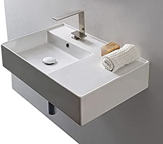 Scarabeo Scarabeo 5114-One Hole Ceramic Wall Mounted Rectangular Bathroom Sink, 23.62 x 17.32 x 5.51 inches, White