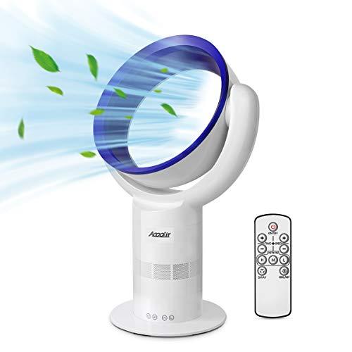 Acoolir Ventilador sin Aspas Silencioso de Viento Natural Saludable de Circulació 10 Velocidades Oscilación de 90° Temporizador de Sueño Inteligente Control Remoto Seguro para Niños Silencio