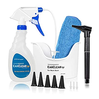 Nuance Medical EarClear Rx Flexible Tip Ear Cleaning Kit with Otoscope Penlight, Basin and 3 Disposable Tips and New Microfiber Towel
