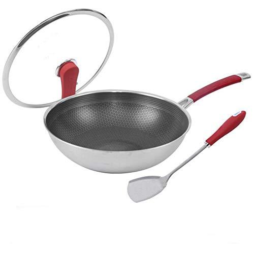 Pannen met deksels niet-gecoate roestvrijstalen wok gebakken ei pannenkoek non-stick koekenpan