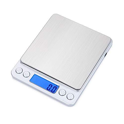 3000g 0 1g Balanza electrónica USB Balanza de peso de cocina 3kg 0 1g Joyería de alta precisión Balanzas de dieta de alimentos Balanza de pesaje Dos bandejas de plata