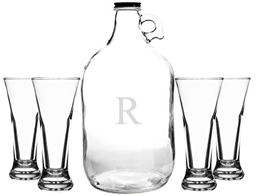 Cathy's Concepts Personalized Craft Beer Growler & Tasters Set, Letter R